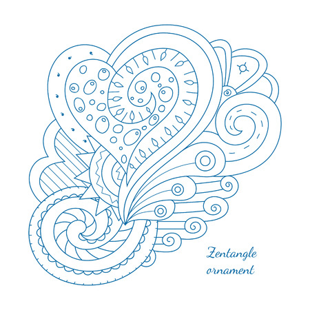 spiral: Hand drawn doodle element for design. Floral  vector illustration. Perfect for cards, invitations, banners, greetings, posters. Simple coloring page for relaxing with heart and swirls.