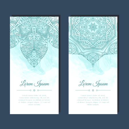 east indian: Cards set with mandala mehndi ornament in east Indian style.