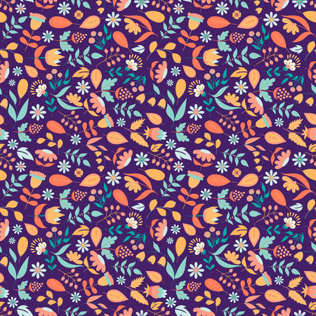 retro fashion: Floral seamless pattern with doodle flowers and leaves. Vector blooming floral texture for card, wrapping paper, invitation, card, wedding, surface or pajama pattern. Gentle autumn vector background. Illustration