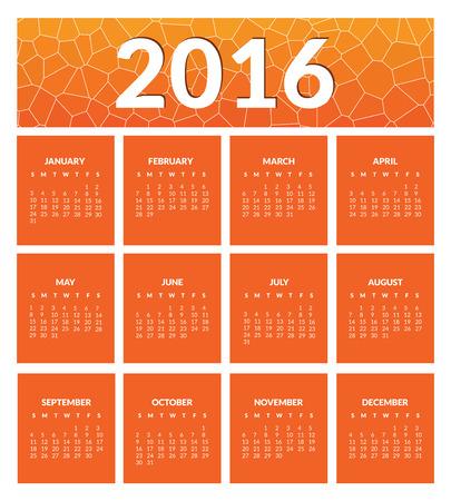 meses del año: colorido calendario para el nuevo año 2016. a 12 meses, fechas, días de la semana. Color naranja. Vector. Vectores