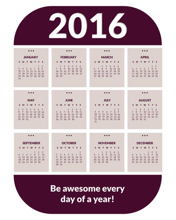 months of the year: Colorful calendar for new year 2016. 12 months, dates, days of week. Purple color. Vector.