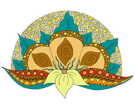 indische muster: Bunte Hand gezeichnet Doodle Element f�r Design. Narcissus Blume mit Stammes-Bl�tter und Dekoration. Gut f�r Karte, Postkarte, Gru�, Wellness-Shop, Hochzeit, Baby-Dusche. Floral Vektor-Illustration.