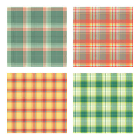 plaid patterns: Set of seamless lumberjack plaid patterns, tartan vector patterned texture. For design, background, backdrop, textile, card, fabric, cloth,  decoration, wrapping paper. Red, yellow and green. Illustration