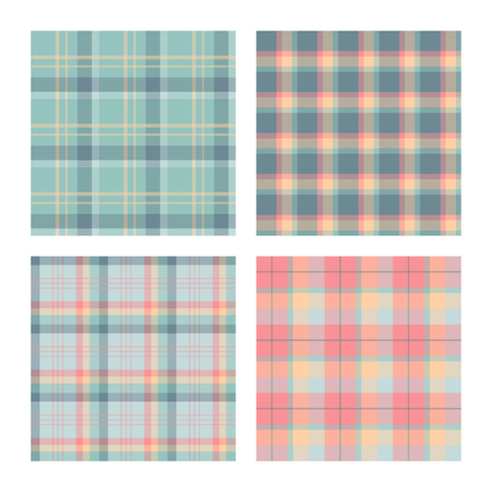 plaid patterns: Set of seamless lumberjack plaid patterns, tartan patterned texture. For design, background, backdrop, textile, card, fabric, cloth,  decoration, wrapping paper. Blue, pink and green. Illustration