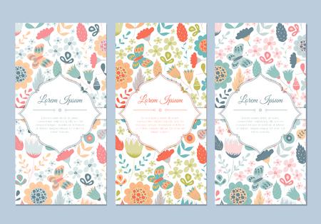 婚禮: 可愛的復古塗鴉的花卉卡邀請,標籤,橫幅,婚禮,派對,嬰兒沐浴,母雞黨,母親節,情人節設置。美麗的背景與溫和的花和葉。 向量圖像