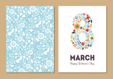 Cute vintage floral holiday cards set. 8 shape with flowers and leaves. Beautiful background cards for greeting, invitation, greeting with women's day, 8 march. Spring holiday. Gentle