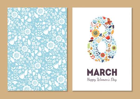 simbolo de la mujer: tarjetas para las fiestas de la vendimia floral lindos fijados. 8 forma con flores y hojas. tarjetas de fondo hermoso de felicitación, invitaciones, tarjetas de felicitación con el día de la mujer, 8 de marzo. Vacaciones de primavera. Amable