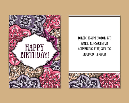 Biglietti di auguri impostate con il modello mandala colorato. stile indiano orientale. Bellissimo sfondo per la carta, partito o invito all'evento, il compleanno, la festa della mamma, matrimonio. illustrazione.