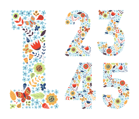Cute floral vintage numbers set. Doodle flowers, leaves, butterflies in shapes. Decoration for cards, kids illustrations, invitation, wedding, greeting. 1, 2, 3, 4, 5.