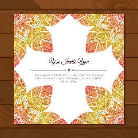 east indian: Greeting card with colorful mandala pattern. East Indian style. Beautiful background for card, party or event invitation, flyer, birthday, mothers day, wedding. Vector zentangle illustration.