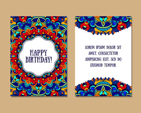 east indian: Greeting cards set with colorful mandala pattern. East Indian style. Beautiful background for card, party or event invitation, flyer, birthday, mothers day, wedding. Vector illustration.