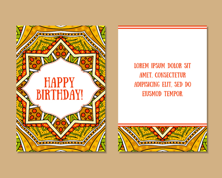east indian: Greeting cards set with colorful mandala pattern. East Indian style. Beautiful background for card, party or event invitation, flyer, birthday, mothers day, wedding. Vector zentangle illustration.