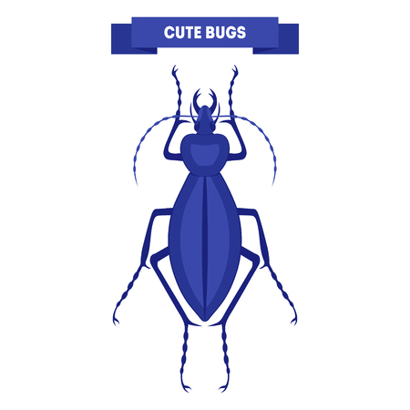 carabidae: Cute bug isolated on white. Blue ceroglossus. Cute insect design. Stylish flat cartoon bug. For card, print,  poster, label, shop. Kids beetle illustration