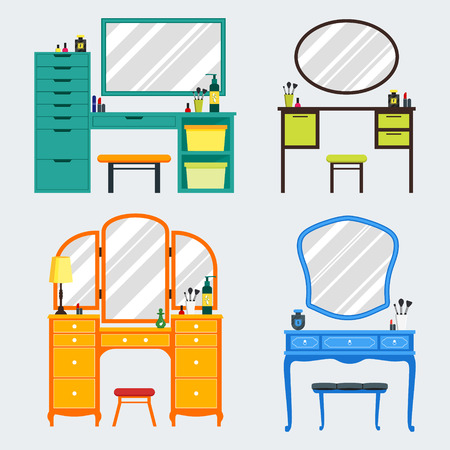 dressing: Cute colorful set of flat dressing tables with girls things, mirror, perfume, lipstick, cosmetic. Isolated interior objects for dressing woman room. Furniture for feminine boudoir illustration