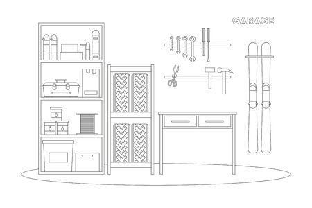 carpentry cartoon: Flat line garage interior. Working place with tools in storeroom. Garage inside. Tools, worker tools, tires, hummer, boxes, shelves, skis, table in garage. interior garage illustration. Illustration