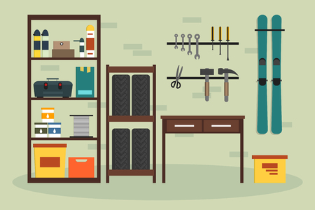 storeroom: Flat garage inside. Working place with tools in storeroom. Garage interior. Tools, worker tools, tires, hummer, boxes, shelves, skis, table in store. interior illustration.