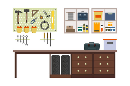 storeroom: Flat garage inside. Working place with tools in storeroom. Garage interior. Tools, worker tools, tires, hummer, boxes, shelves, table in store. interior illustration.