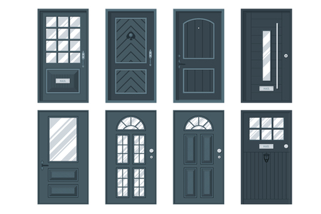 exterior element: Set of detailed front doors for private house or building. Interior  exterior home entrance decoration elements. Isolated modern architecture element. Wooden doorway construction. illustration Illustration