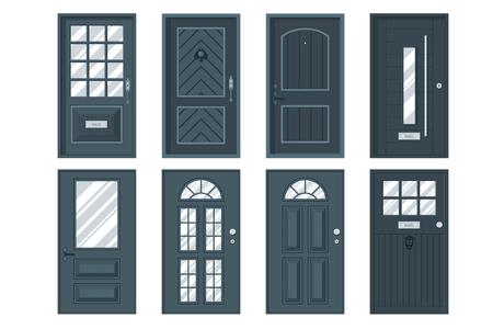 Kleurrijke voordeuren naar huizen en gebouwen in plat design stijl