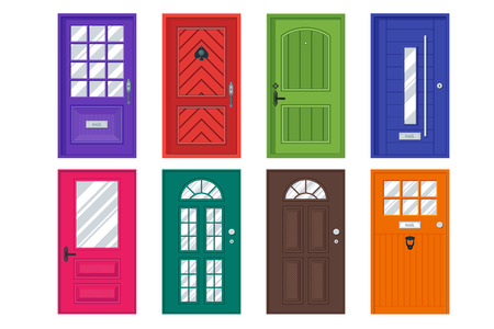 wooden facade: Set of detailed front doors for private house or building. Interior  exterior home entrance decoration elements. Isolated modern architecture element. Wooden doorway construction. illustration Illustration