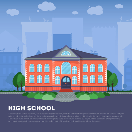 art back: Modern public or private academy or university building, flat school building in big city. Education concept. Study place. Background for back to school poster, card Illustration