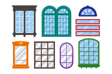exterior element: Set of detailed windows for private house or building. Interior  exterior home decoration elements. Isolated modern architecture element. Wooden constructions with glass. colorful illustration