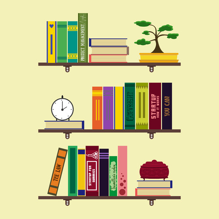 jewelry box: Flat home library or room bookshelves with books, bonsai, clock, jewelry box. Home comfortable book lover decor concept. Booklover card, poster,  brochure. illustration set