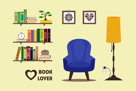 Flat library room interior with armchair, floor lamp, bookshelves, bonsai, pictures. Home comfortable book lover decor concept. Booklover card, poster, brochure. furniture set