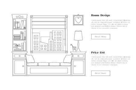 web site design: Line flat room illustration with window and shelves. Place for reading and studying. card, web site element. Interior design for corporate marketing.  flat design.
