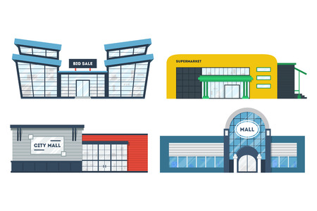 Flat supermarket. Shopping mall building. Set of colorful funny cartoon store city buildings. Market shop place. Business marketing collection. Infographic elements. Isolated illustration.