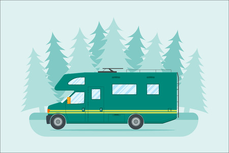 family van: Modern flat camper van. Car for family travel. Concept of outdoor recreation and travel around the world. Poster, card, leaflet or template design with place for text. illustration.