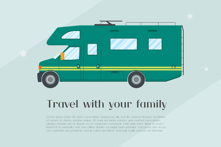 camper: Modern flat camper van. Car for family travel. Concept of outdoor recreation and travel around the world. Poster, card, leaflet or template design with place for text. illustration.
