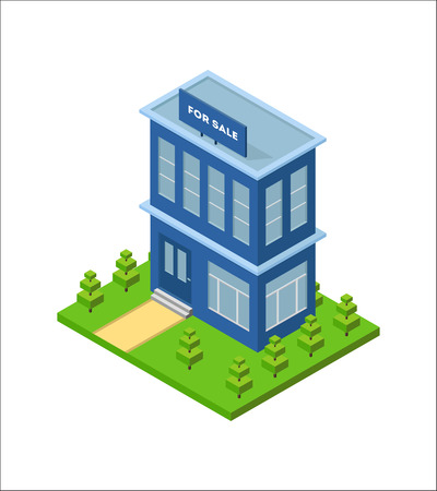 small business office: Isometric city building with billboard for sale from real estate. Three dimensional town house on the green grass. Small business office. Infographic design element. isolated illustration.