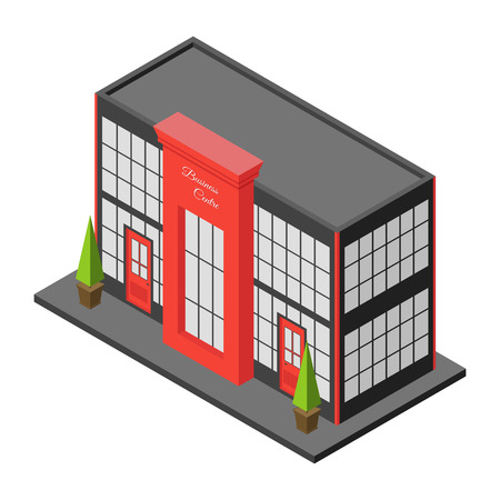 small business office: Isometric city building of business center or mall. Three dimensional town constraction. Small business office. Infographic design element. isolated illustration.