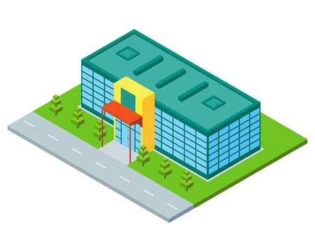 constraction: Isometric city building of supermarket, store or mall. Three dimensional town constraction. Shopping flat concept. Infographic design element. isolated illustration. Illustration