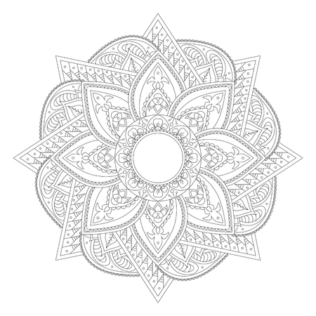 Mandala design element. Symmetric round. Abstract doodle background. Good for cards, invitations, party, bag, t-shirt, marketing materials. Coloring round ornament.