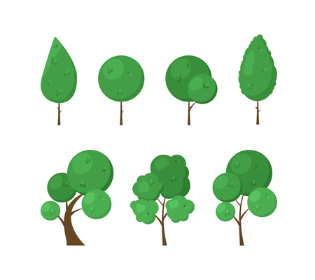 Set of icons flat trees isolated on white background. Elements of green forest, park or garden for city decoration. Natural objects for the game. Vector illustration.
