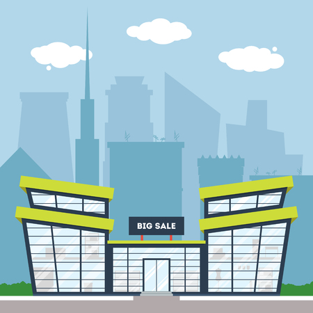 market place: Flat supermarket. Shopping mall building with green trees and grass. City background for card, banner, real estate, notebook cover, poster, postcard. Market shop place. Business marketing. Vector illustration.