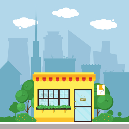 market place: Flat shop store. Shopping mall building with green trees and grass. City background for card, banner, real estate, poster, postcard. Market shop place. Business marketing. Vector illustration.