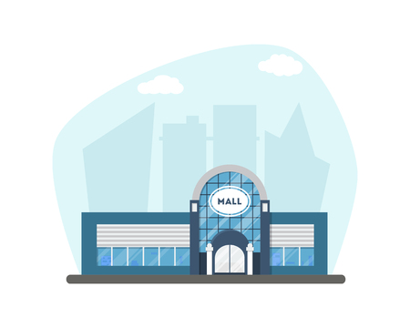 market place: Flat supermarket. Shopping mall building on city background. Good for card, banner, real estate, poster or postcard. Market shop place. Business marketing architecture. Vector illustration.