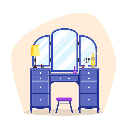 dressing: Cute colorful flat dressing table with girls things, mirror, perfume, lipstick, cosmetic. Isolated interior objects for dressing woman room. Furniture for feminine boudoir vector illustration