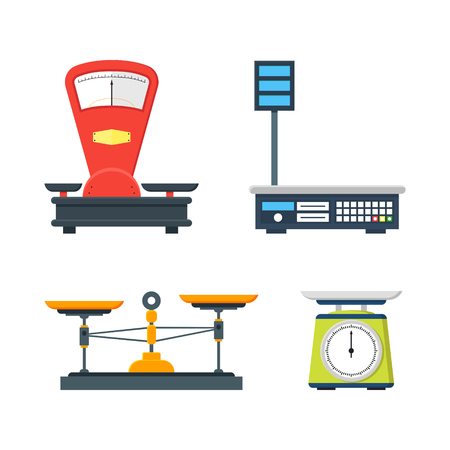 weigher: Flat store weigher. Collection of electronic and mechanical scales for shop. Business sale objects. Measurement of grocery products. Isolated on white vector illustration.