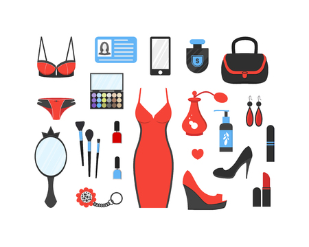 Womans things set. Girl accessories icons collection of shoes, jewelry, perfume, cosmetics, mirror, dress, underwear. Make-up things. Modern flat design. Vector illustration on white background.