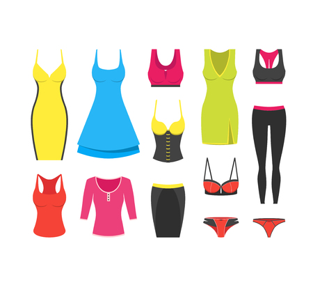 Collection of woman clothes for different occasions. Cocktail and casual dress, t-shirt, sport wear, sexy underwear, corset, skirt, panties. Modern flat design. Vector illustration on white background