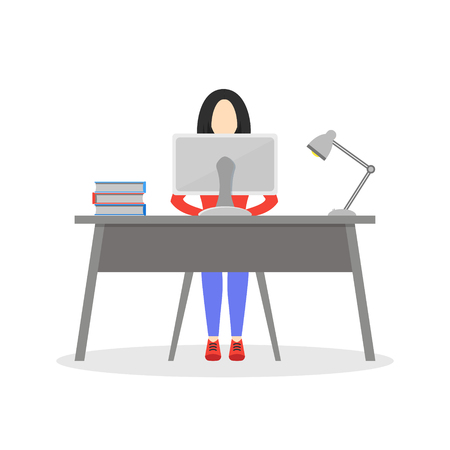 Girl sitting at desk with computer, lamp and books. Business woman working in office. Employee working day. Character design. Trendy modern flat design. Vector illustration isolated on white. Ilustrace