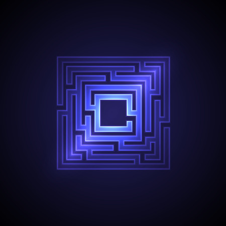 Abstract maze background with glowing light. Labyrinths in shape of square. Modern design of mystery pattern for business, decoration. Vector illustration on gradient background.