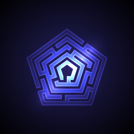 Abstract maze background with glowing light. Labyrinths in shape of pentahedron. Modern design of mystery pattern for business, decoration. Vector illustration on gradient background.