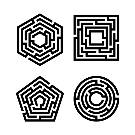 Abstract maze set. Collection of labyrinths in shapes of circle, square, pentahedron and hexahedron.