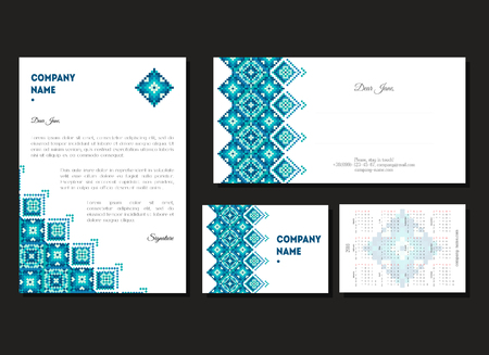 Set of corporate business A4, cards and calendars 2017 for company. Imagens - 72663633