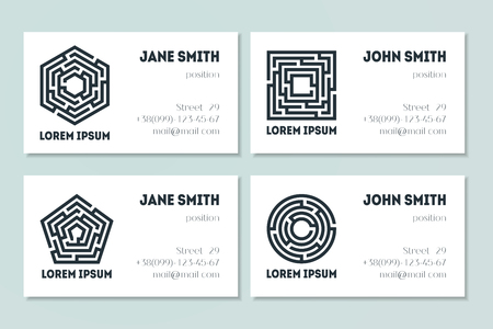 Set of business cards with maze. Collection of labyrinths in shapes of circle, square, pentahedron and hexahedron. Modern design of mystery patterns. Vector illustration on white background Ilustrace
